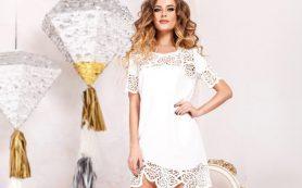 Романтичное вязаное белое платье на 2019 год